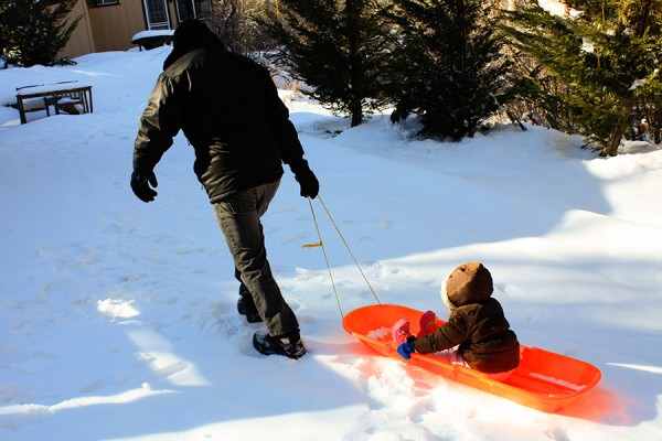 Olivia and Daddy Sled