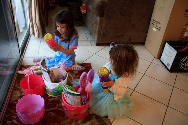Checking out their Easter Baskets
